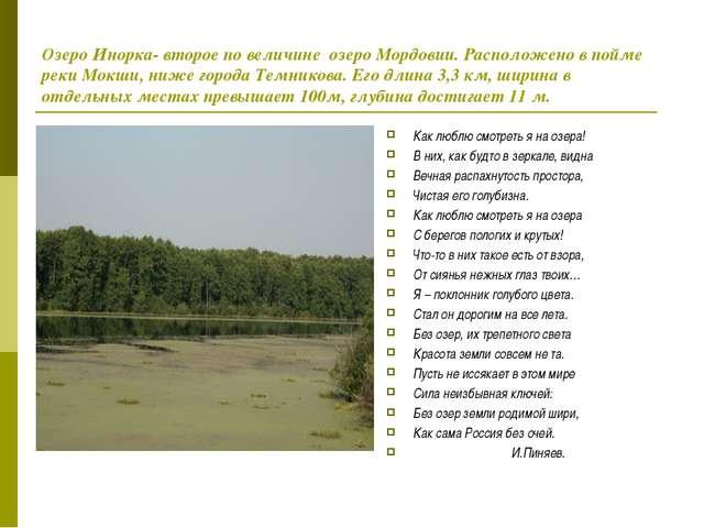 Озеро Инорка- второе по величине озеро Мордовии. Расположено в пойме реки Мок...
