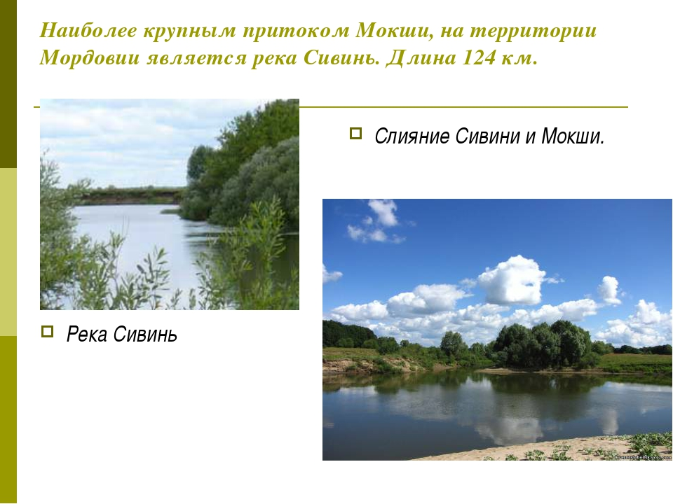 Наиболее крупным притоком Мокши, на территории Мордовии является река Сивинь....
