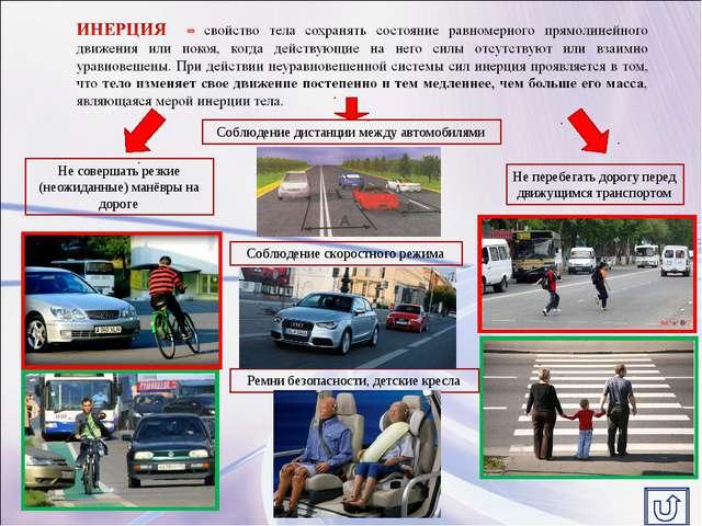 Соблюдение дистанции между автомобилями Не перебегать дорогу перед движущимся...