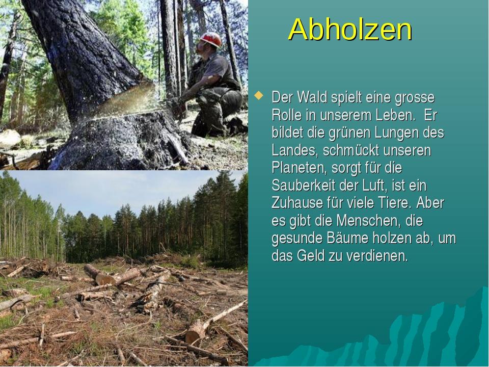 Abholzen Der Wald spielt eine grosse Rolle in unserem Leben. Er bildet die gr...