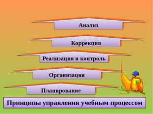 Организация Принципы управления учебным процессом Реализация и контроль Плани