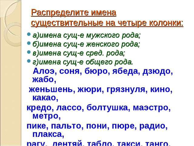 Распределите имена существительные на четыре колонки: а)имена сущ-е мужского...