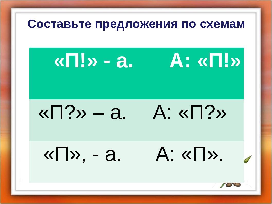 Составьте предложения по схемам «П!» - а. А: «П!» «П?» – а.А: «П?» «П», - а...