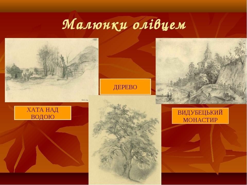 Малюнки олівцем ХАТА НАД ВОДОЮ ВИДУБЕЦЬКИЙ МОНАСТИР ДЕРЕВО