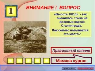 ВНИМАНИЕ ! ВОПРОС «Высота 102,0» - так значилась точка на военных картах Стал