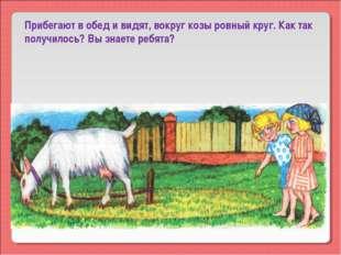 Прибегают в обед и видят, вокруг козы ровный круг. Как так получилось? Вы зна