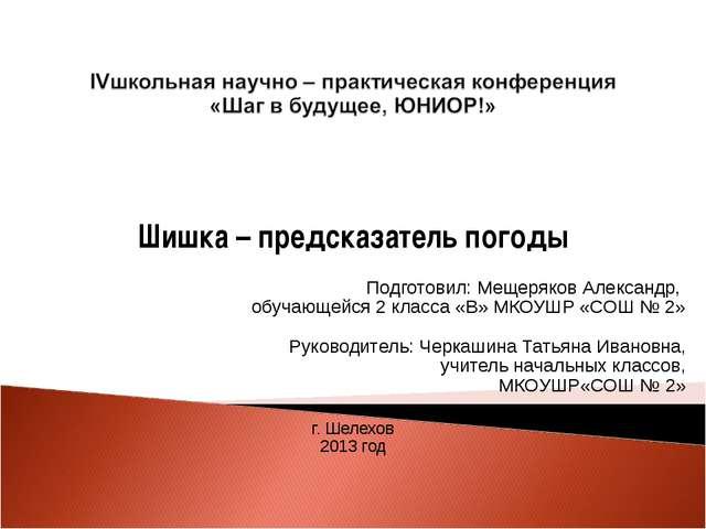 Шишка – предсказатель погоды   Подготовил: Мещеряков Александр, обучающейс...