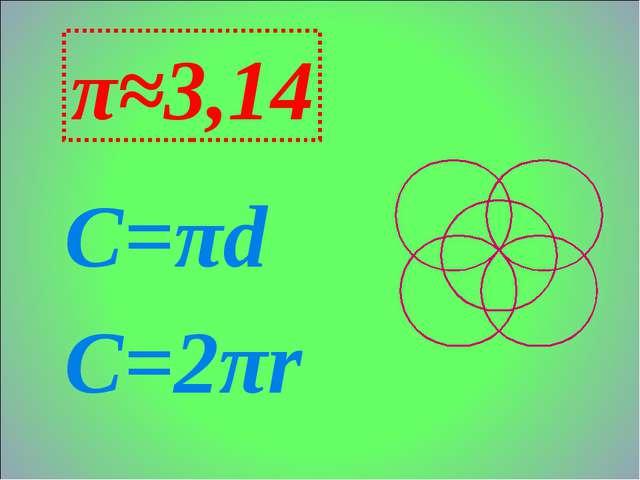 С=πd C=2πr π≈3,14
