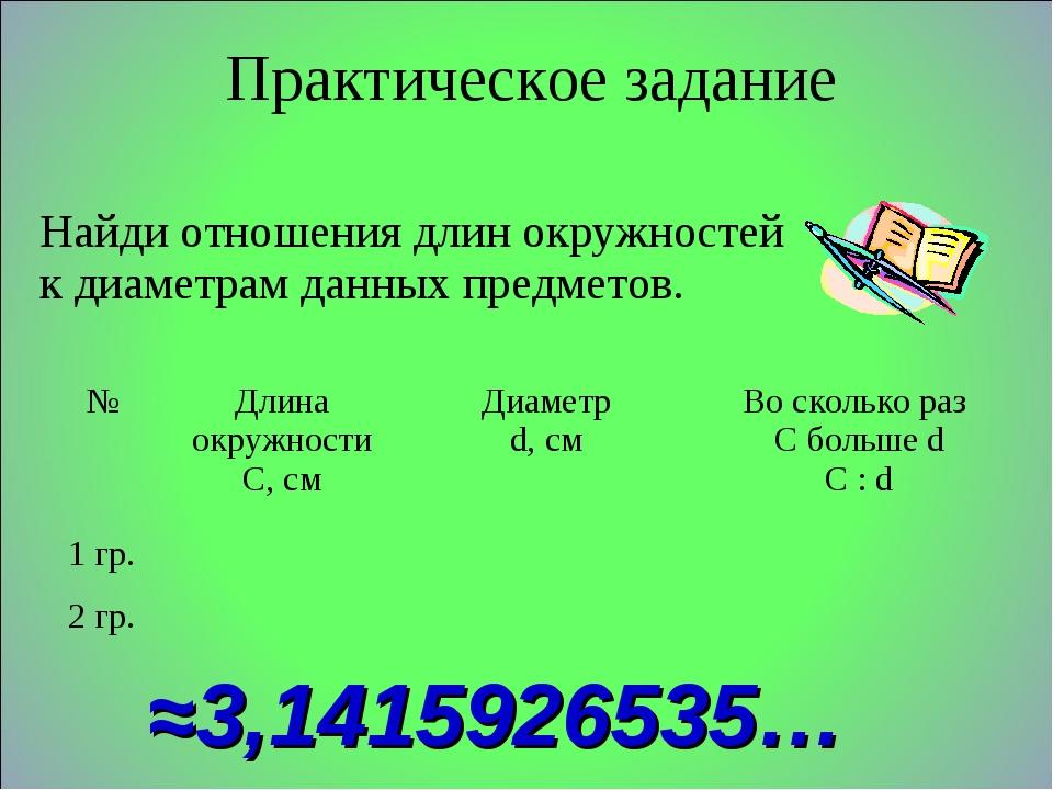 Практическое задание ≈3,1415926535… Найди отношения длин окружностей к диамет...