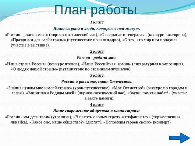 План работы 1 класс Наша страна и люди, которые в ней живут. «Россия - родина...