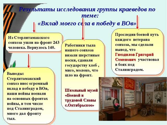 Результаты исследования группы краеведов по теме: «Вклад моего села в победу...