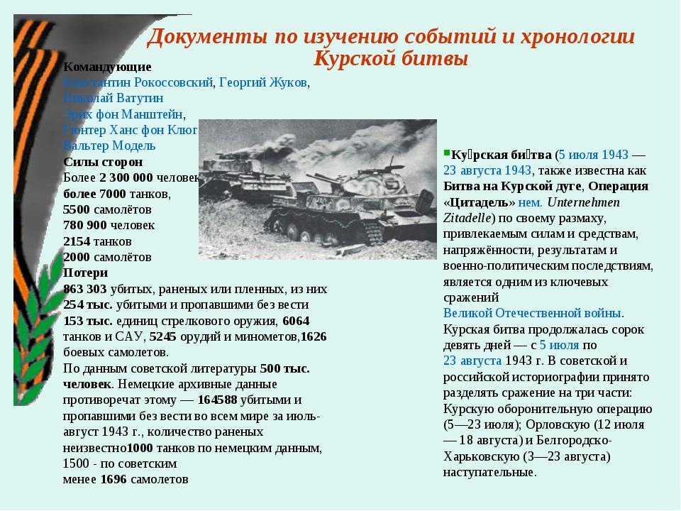 Документы по изучению событий и хронологии Курской битвы Командующие Констан...