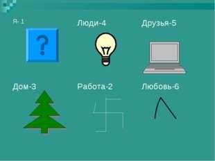 Я- 1Люди-4Друзья-5 Дом-3Работа-2Любовь-6