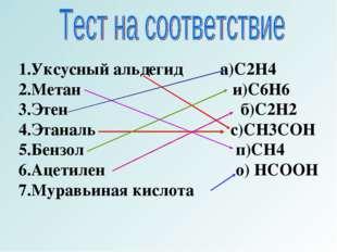 1.Уксусный альдегид а)C2H4 2.Метан и)C6H6 3.Этен б)C2H2 4.Этаналь с)CH3COH 5.