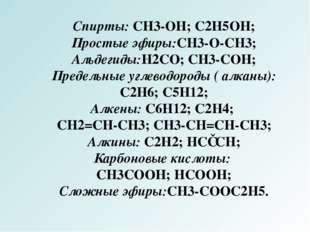 Спирты: CH3-OH; C2H5OH; Простые эфиры:CH3-O-CH3; Альдегиды:H2CO; CH3-COH; Пре
