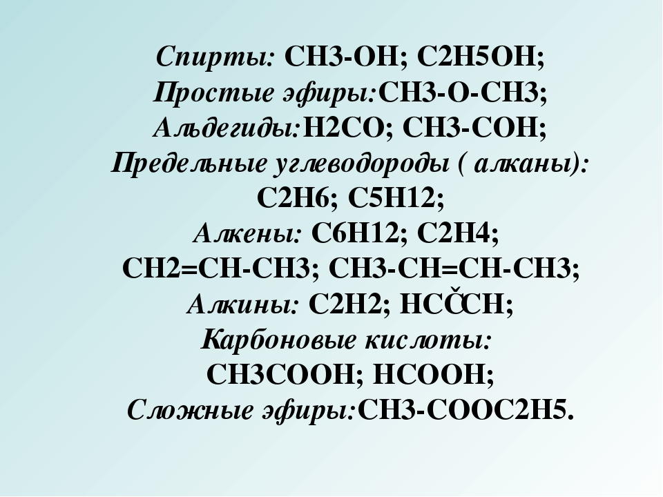 Спирты: CH3-OH; C2H5OH; Простые эфиры:CH3-O-CH3; Альдегиды:H2CO; CH3-COH; Пре...