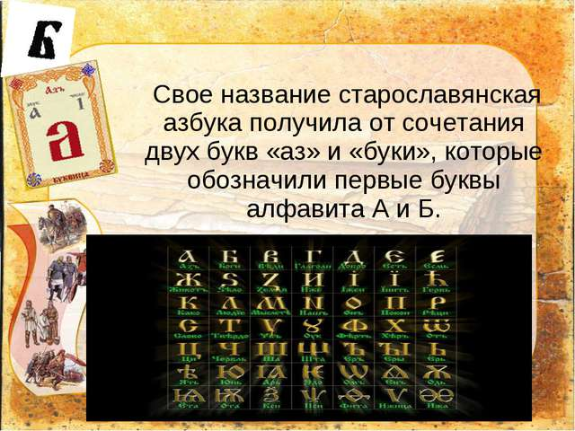 Свое название старославянская азбука получила от сочетания двух букв «аз» и...