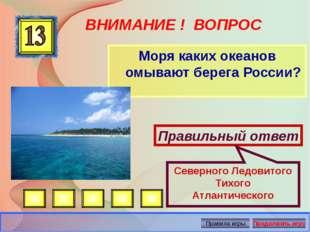 ВНИМАНИЕ ! ВОПРОС Моря каких океанов омывают берега России? Правильный ответ