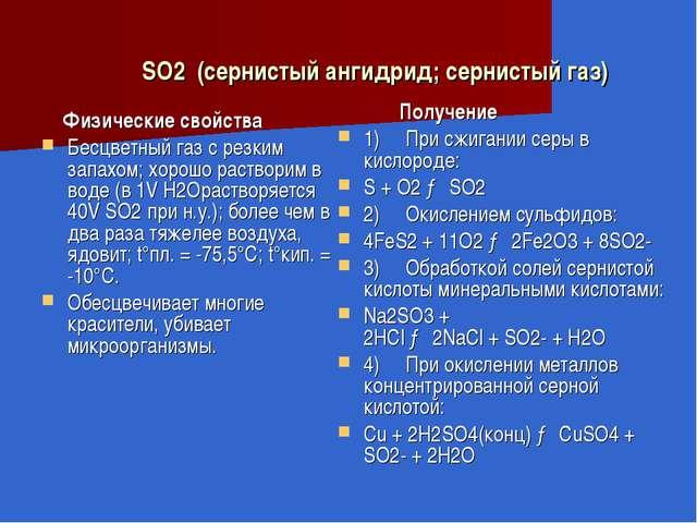 SO2(сернистый ангидрид; сернистый газ) Физические свойства Бесцветный газ...