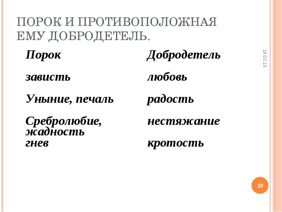ПОРОК И ПРОТИВОПОЛОЖНАЯ ЕМУ ДОБРОДЕТЕЛЬ. * * ПорокДобродетель завистьлюбовь...