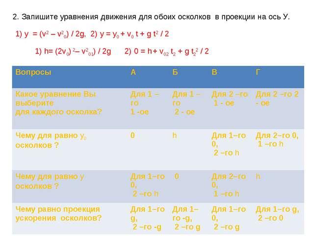 2. Запишите уравнения движения для обоих осколков в проекции на ось У. 1) y =...