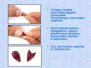 Теперь сожми заготовку двумя пальцами. Получилась заготовка «капля». Заготовк