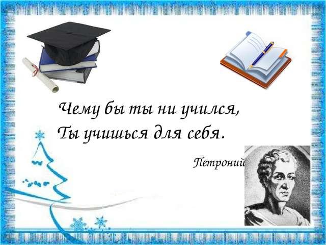 Чему бы ты ни учился, Ты учишься для себя.  Петроний