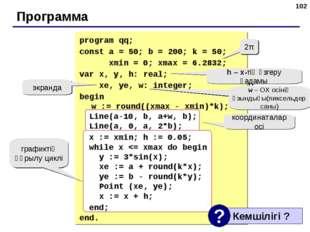 * Программа 2π h – x-тің өзгеру қадамы w – ОХ осінің ұзындығы(пиксельдер саны