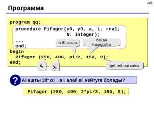 * Программа program qq; procedure Pifagor(x0, y0, a, L: real; N: integer); ..