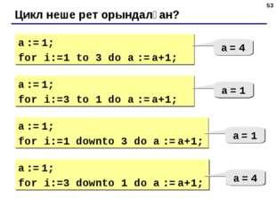 * Цикл неше рет орындалған? a := 1; for i:=1 to 3 do a := a+1; a = 4 a := 1;