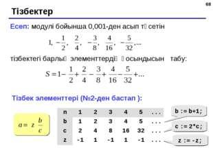 * Тізбектер Есеп: модулі бойынша 0,001-ден асып түсетін тізбектегі барлық эле