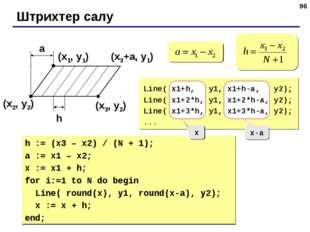 * Штрихтер салу (x1, y1) (x2, y2) (x3, y2) a h (x3+a, y1) Line( x1+h, y1, x1+