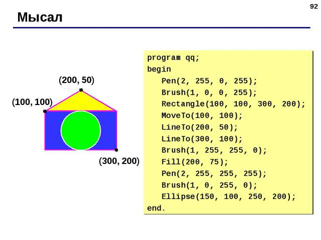 * Мысал (200, 50) (100, 100) (300, 200) program qq; begin Pen(2, 255, 0, 255)...