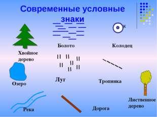 Современные условные знаки Хвойное дерево Болото К Колодец Луг Тропинка Озеро