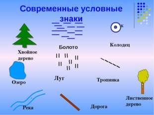 Современные условные знаки Хвойное дерево К Колодец Луг Тропинка Озеро Река Д