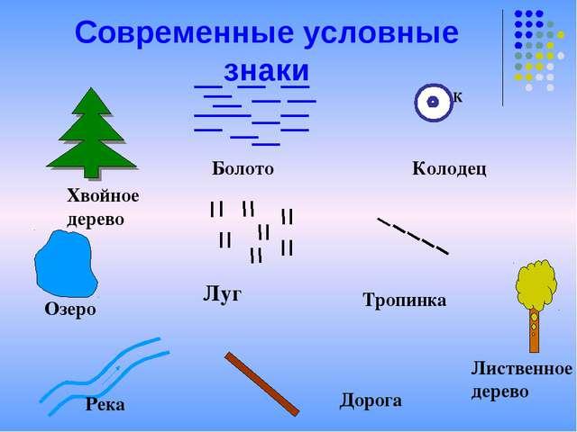 Современные условные знаки Хвойное дерево Болото К Колодец Луг Тропинка Озеро...