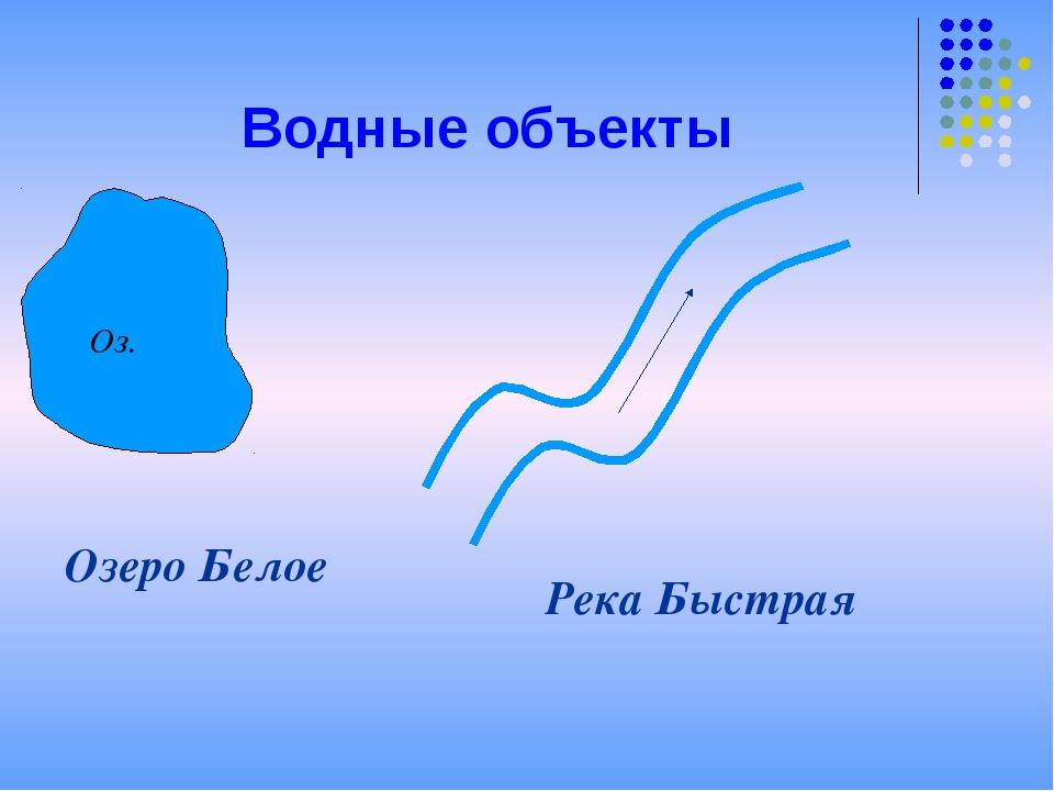 Водные объекты Озеро Белое Река Быстрая Оз.