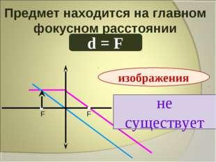 Предмет находится на главном фокусном расстоянии d = F не существует изображе