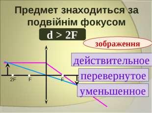 Предмет знаходиться за подвійнім фокусом d > 2F действительное перевернутое у