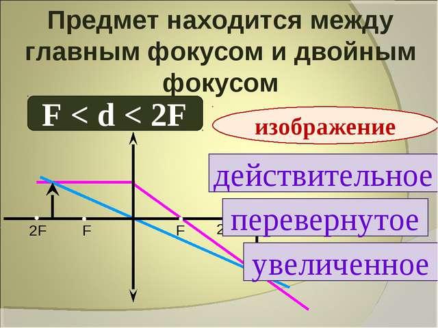 Предмет находится между главным фокусом и двойным фокусом F < d < 2F действит...