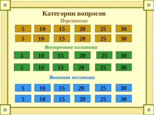 Категории вопросов 5 10 15 20 25 30 5 10 15 20 25 30 5 10 15 20 25 30 5 10 15