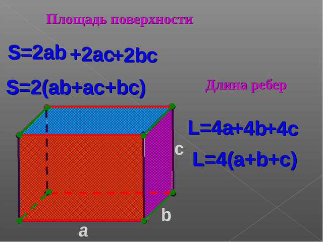 a c S=2ab S=2(ab+ac+bc) L=4(a+b+c) L=4a b Площадь поверхности Длина ребер +2b...