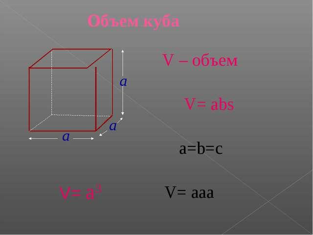 Объем куба V – объем V= abs a=b=c V= aaa V= a3