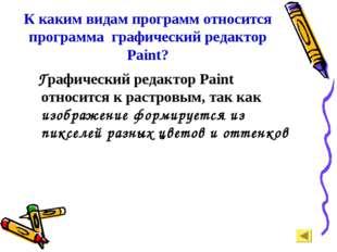 К каким видам программ относится программа графический редактор Paint? Графич