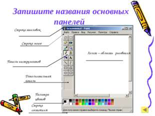 Запишите названия основных панелей Строка заголовок Строка меню Панель инстр