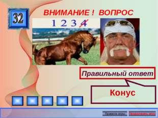 ВНИМАНИЕ ! ВОПРОС Правильный ответ Конус Автор: Русскова Ю.Б.