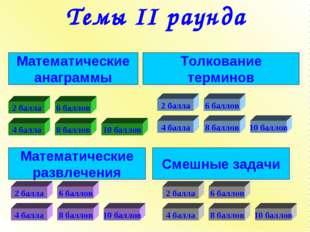 Темы II раунда Математические анаграммы Математические развлечения Смешные за