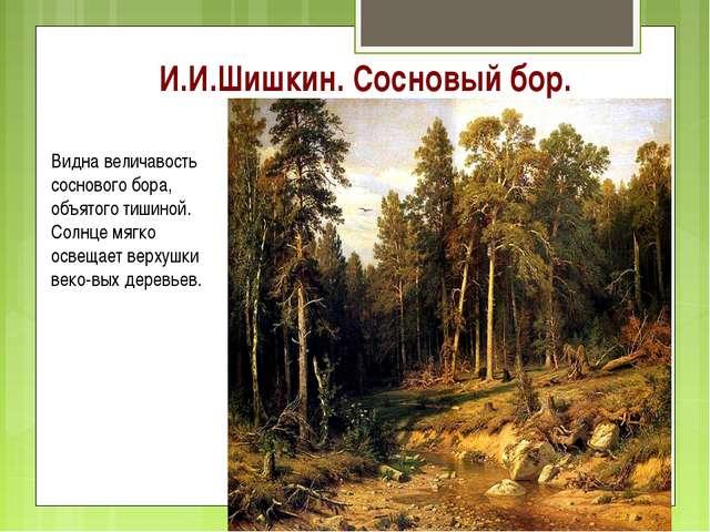 И.И.Шишкин. Сосновый бор. Видна величавость соснового бора, объятого тишиной....