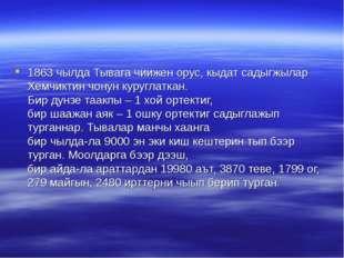 1863 чылда Тывага чиижен орус, кыдат садыгжылар Хемчиктин чонун куруглаткан.