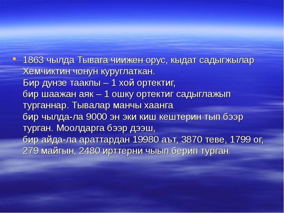 1863 чылда Тывага чиижен орус, кыдат садыгжылар Хемчиктин чонун куруглаткан....